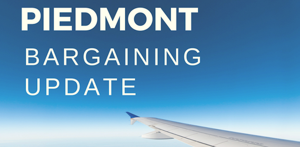 Piedmont Bargaining Update with airplane wing